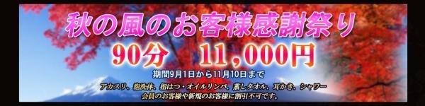 秋のお得キャンペーン90分11,000円お得コースです。
